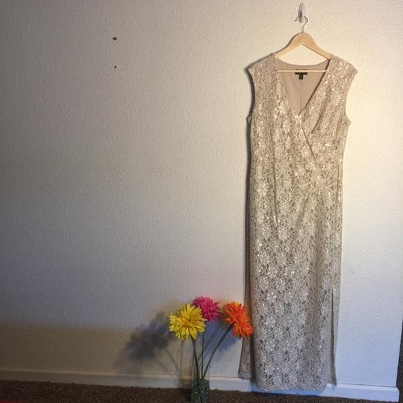 7fc4e806d695 Connected Apparel Dresses | Sequined Lace Surplice Dress | Poshmark
